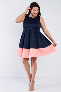 Plus Size Navy Pleated Colorblock Mini Dress  - KjSelections