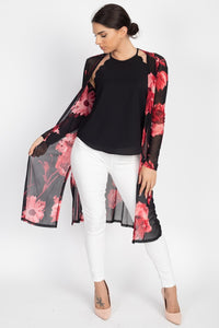 Side Slit Floral Mesh Cardigan  - KjSelections