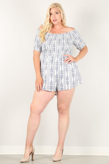 Printed, Off-shoulder Romper With Smocked Bodice