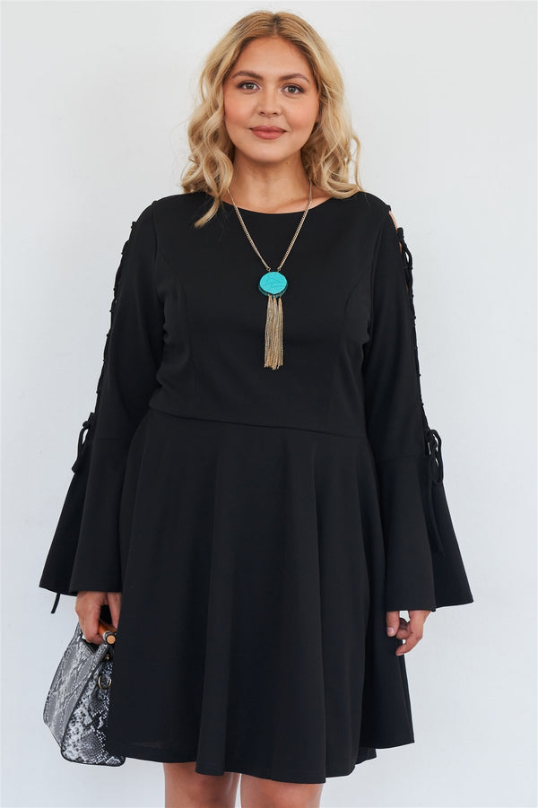 Plus Size Black Lace Up Detail Bell Sleeve Dress  - KjSelections