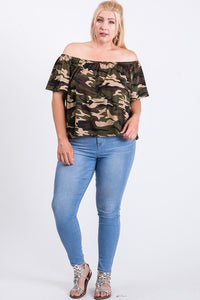 Camo Print Cool Off Shoulder Top  - KjSelections
