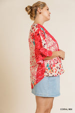 Floral Animal Mixed Print Ruffle Sleeve V-neck Crossbody Top With Scoop Hem  - KjSelections