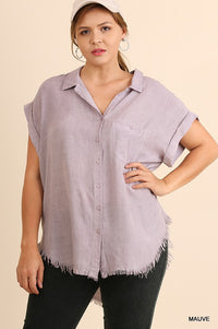 Washed Button Up Short Sleeve Top With Frayed Hemline  - KjSelections