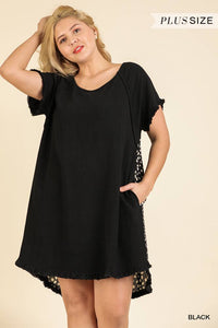 Short Ruffle Sleeve Round Neck Dress With Dalmatian Print Back And Ruffle Frayed Scoop Hem  - KjSelections