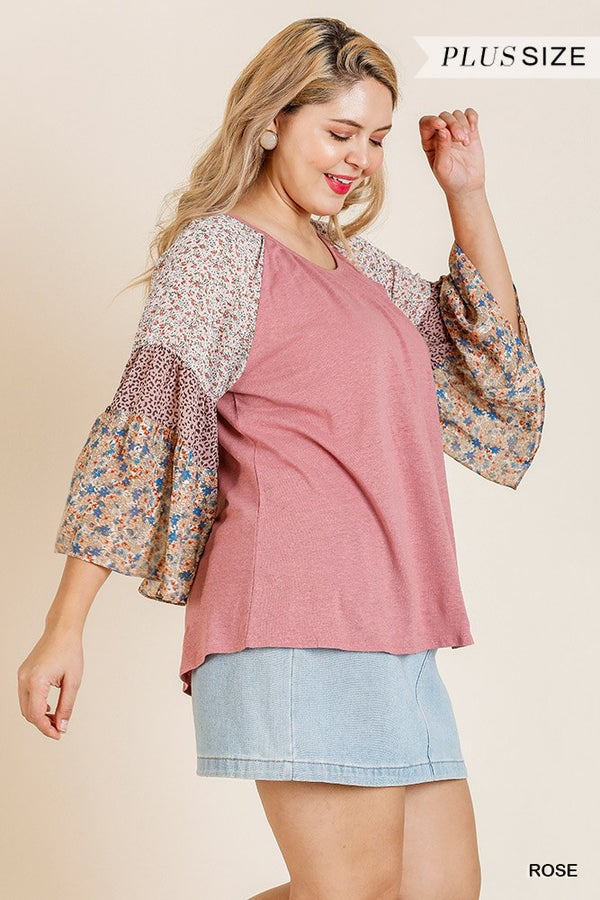 Sheer Mixed Floral Print Bell Sleeve Round Neck Top  - KjSelections