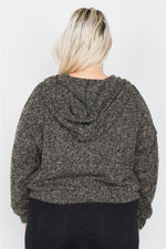 Plus Size Heather Charcoal Athletic Full Zip Hoodie Sweater  - KjSelections