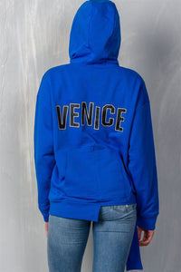 "Uneven Hem Graphic ""venice"" Pullover Hoodie  - KjSelections"