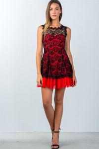 Black Red Lace Contrast Tulle Hem Mini Dress  - KjSelections