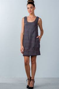 Multi Houndstooth Pattern Sleeveless Mini Dress  - KjSelections