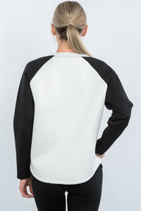 Contrast Sleeve Curved Hem Sweater  - KjSelections