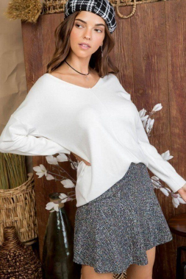 V Neck 3/4 Sleeve Side Slit Hi-lo Sweater  - KjSelections