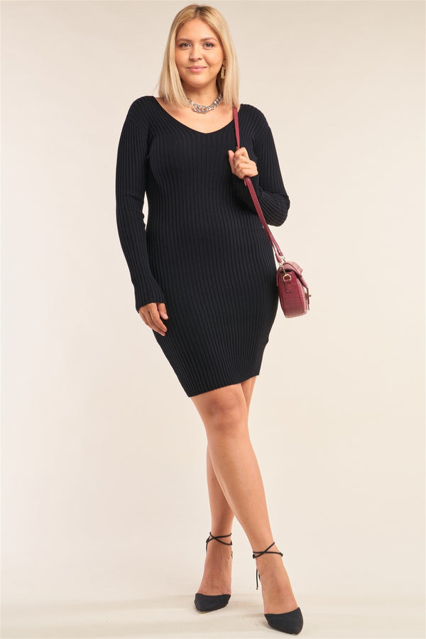 Plus Size V-neck Long Sleeve Ribbed Sweater Bodycon Mini Dress  - KjSelections