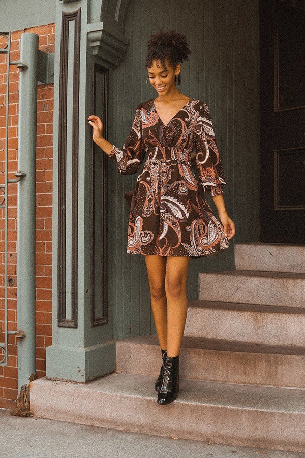 A Woven Mini Dress In Vintage Paisley Print  - KjSelections