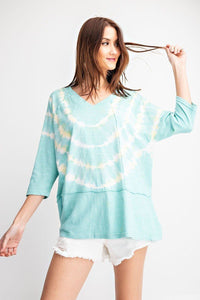 3/4 Sleeves Special Washed Boxy Cotton Slub Top  - KjSelections