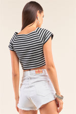 Black And Grey Striped Square Neck Mini Sleeve Cropped Top  - KjSelections