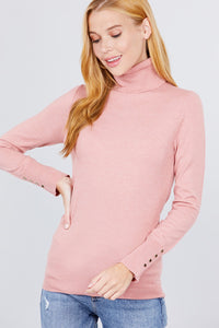 Long Sleeve With Metal Button Detail Turtle Neck Viscose Sweater  - KjSelections