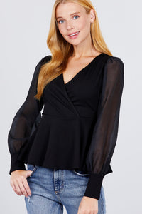 Puff Sleeve V-neck Peplum Top  - KjSelections