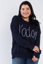 "Plus Size ""jadore"" Script Knit Relaxed Fit Sweater  - KjSelections"