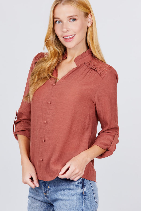 V-neck Button Down Woven Top  - KjSelections