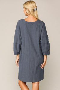 Textured Button Accent Puff Sleeve Side Pockets Shift Dress  - KjSelections