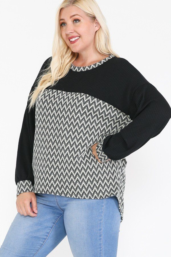 Jacquard Contrast With Drop Shoulder Long Sleeve Round Hem Top  - KjSelections