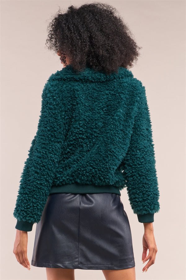 Hunter Green Long Sleeve Zip Front Faux Fur Bomber Jacket  - KjSelections