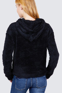 Faux Fur Fluffy Hoodie Top  - KjSelections