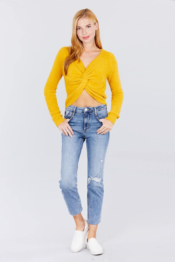 Front Twisted Knot Cozy Sweater  - KjSelections