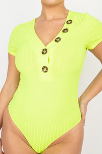 Button V-neck Bodysuit  - KjSelections