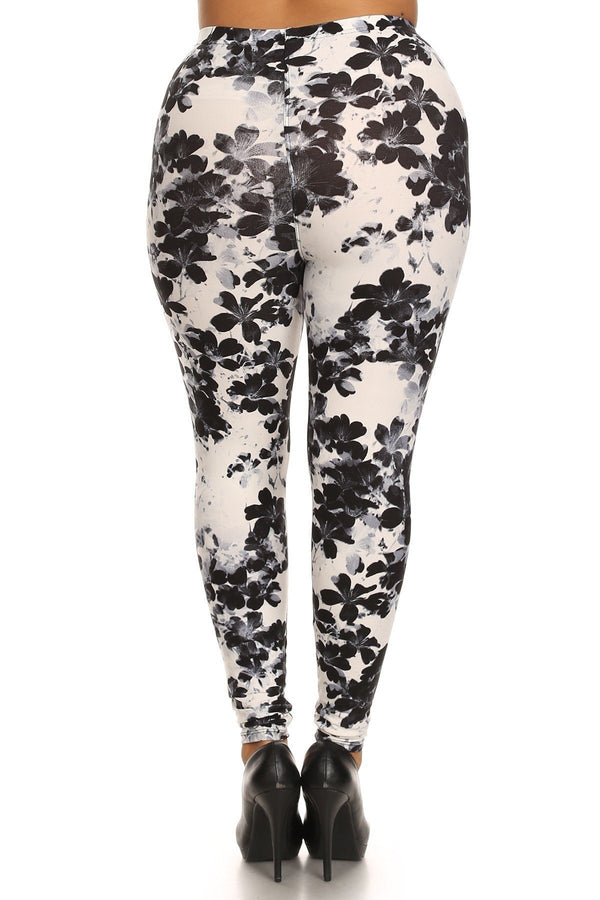 Super Soft Peach Skin Fabric, Floral Graphic Printed Knit Legging  - KjSelections
