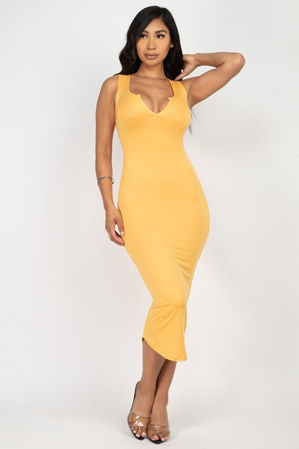 Split Neck Bodycon Dress  - KjSelections
