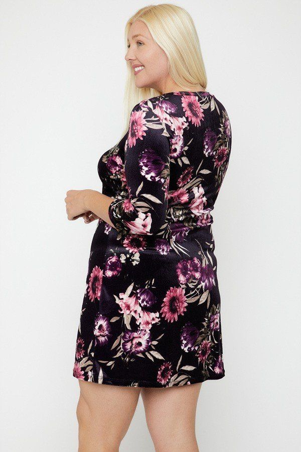 Velvet Dress Featuring A Lovely Floral Print  - KjSelections