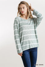 Striped Round Neck Long Sleeve Top  - KjSelections