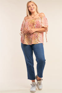 Plus Size  Leopard Print Relaxed Fit Off-the-shoulder Draw String Self Tie Puff Sleeve Top  - KjSelections