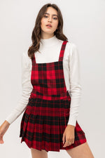 Woven Stretch Plaid Pleated Skirtall  - KjSelections