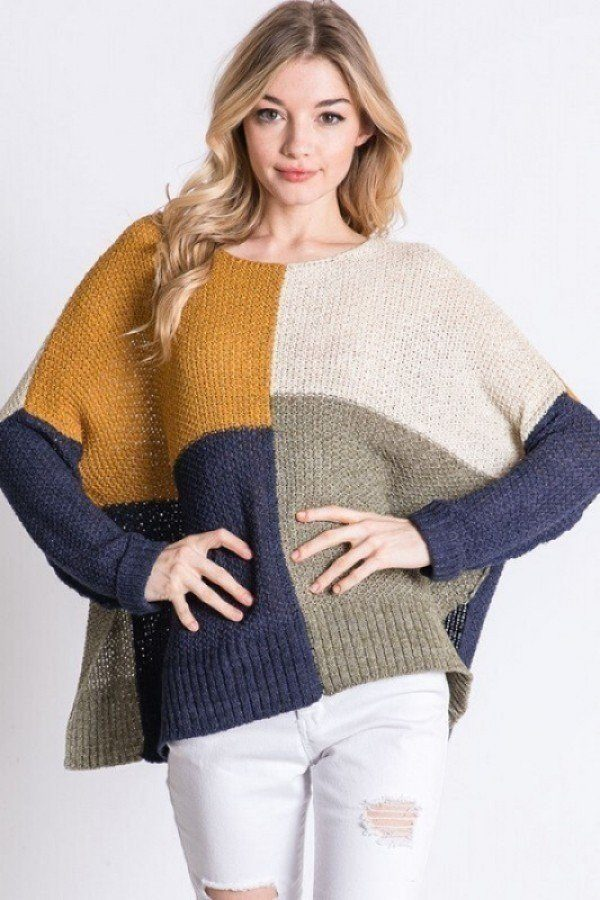 Colorblock Cozy Thick Knit Oversize Sweater  - KjSelections