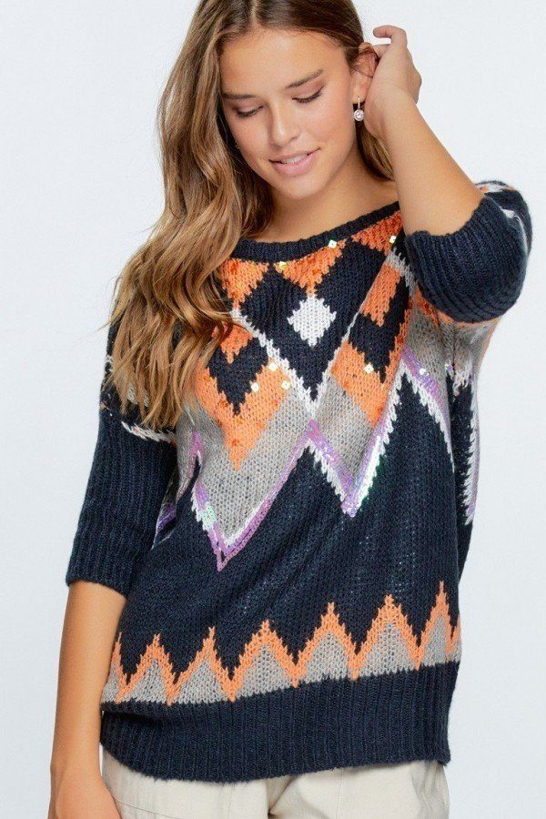Aztec Pattern With Glitter Accent Sweater  - KjSelections