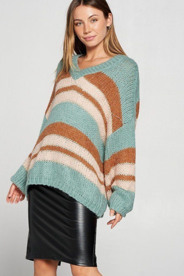 V-neck Cozy Thick Knit Stripe Pullover Sweater  - KjSelections