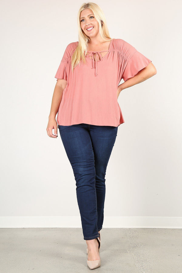 Plus Size Solid Top With A Necktie, Pleated Detail, And Flutter Sleeves  - KjSelections
