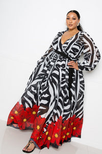 Zebra Printed Maxi Dress  - KjSelections