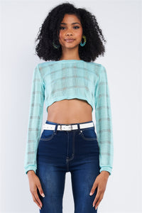 Tiffany Blue Cropped Knit Long Sleeve Sweater  - KjSelections