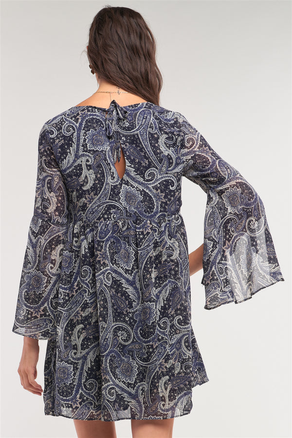 Navy Multicolor Paisley Print Loose Fit Trumpet Sleeve Self-tie Detail Mini Dress  - KjSelections