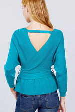 V-neck Wrapped Waist Band Sweater  - KjSelections