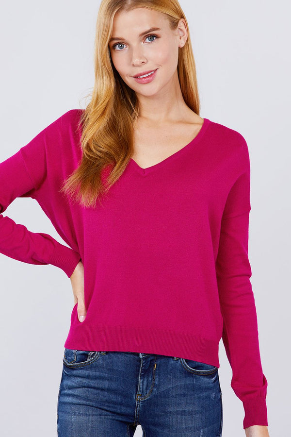 V-neck Back Cross Sweater  - KjSelections
