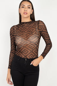 Long Sleeve Geometric Bodysuit  - KjSelections