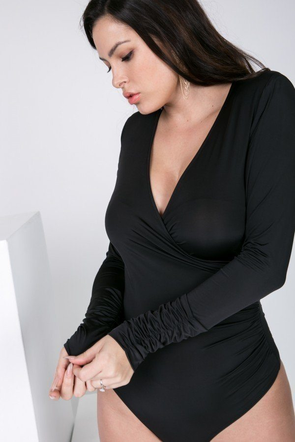 Long Sleeve Shirred Detail Surplice Bodysuit  - KjSelections