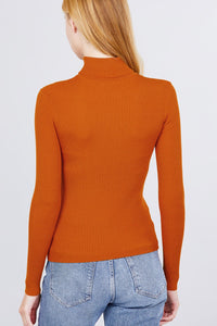Turtle Neck Viscose Rib Sweater  - KjSelections
