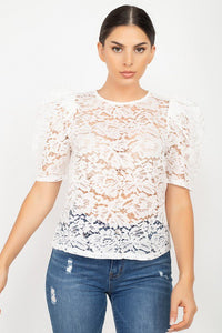Puff Sleeve Round Neck Top  - KjSelections