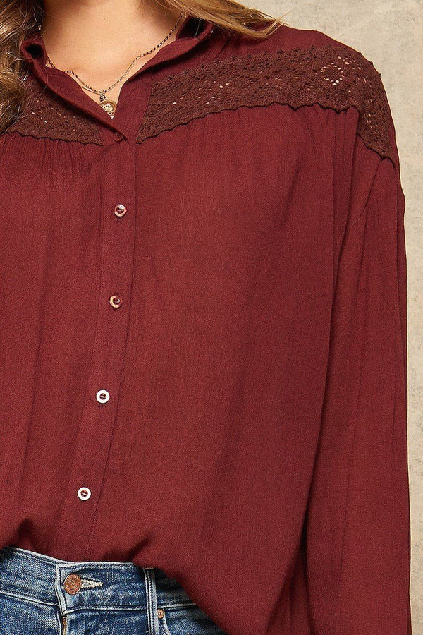 A Crinkled Woven Shirt Featuring Basic Collar  - KjSelections