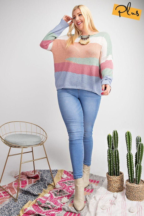 Striped Light Weight Knitted Sweater Top  - KjSelections